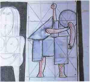 Roger Capron, dessin préparatoire.